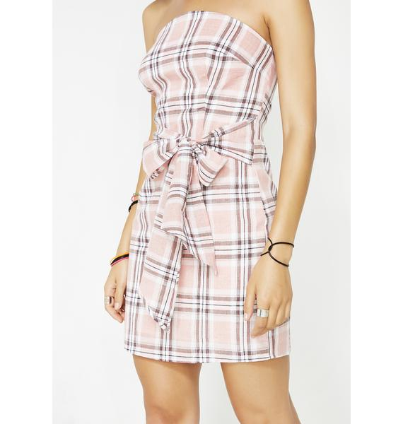 Take A Bow Plaid Mini Dress