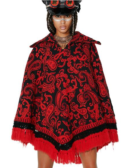 Vintage Floral Tapestry Poncho