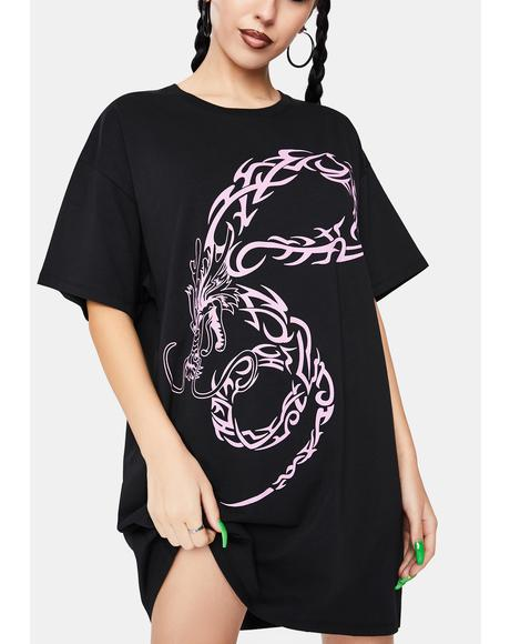 Dragon Tattoo T-Shirt Dress