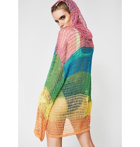 Current Mood Sorbet Shortie Crochet Hoodie