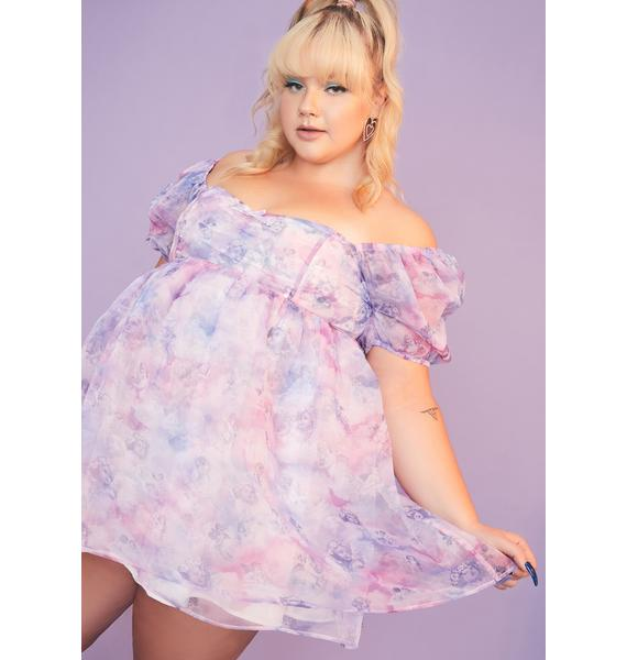 Sugar Thrillz She's On Cloud Nine Babydoll Dress