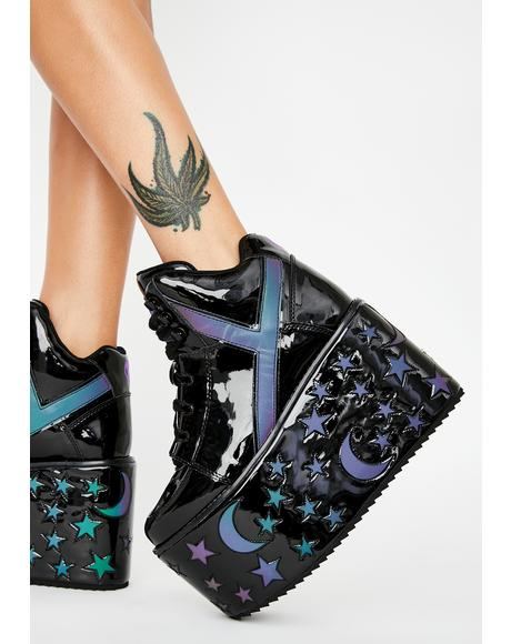 Reflective Stars Qozmo Platform Sneakers