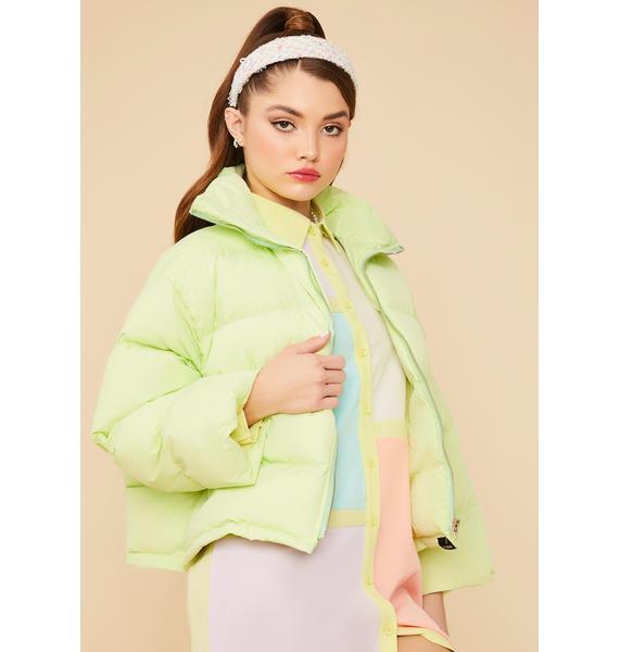 Lime Cuddle Bug Cropped Puffer Jacket