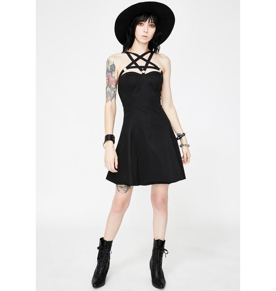 Dr. Faust O- Ring Pentagram Strap Mini Dress