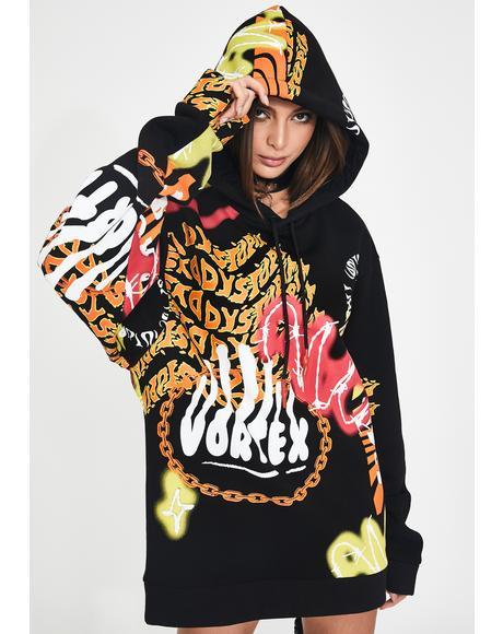 Vortex Graffiti Print Oversized Hoodie