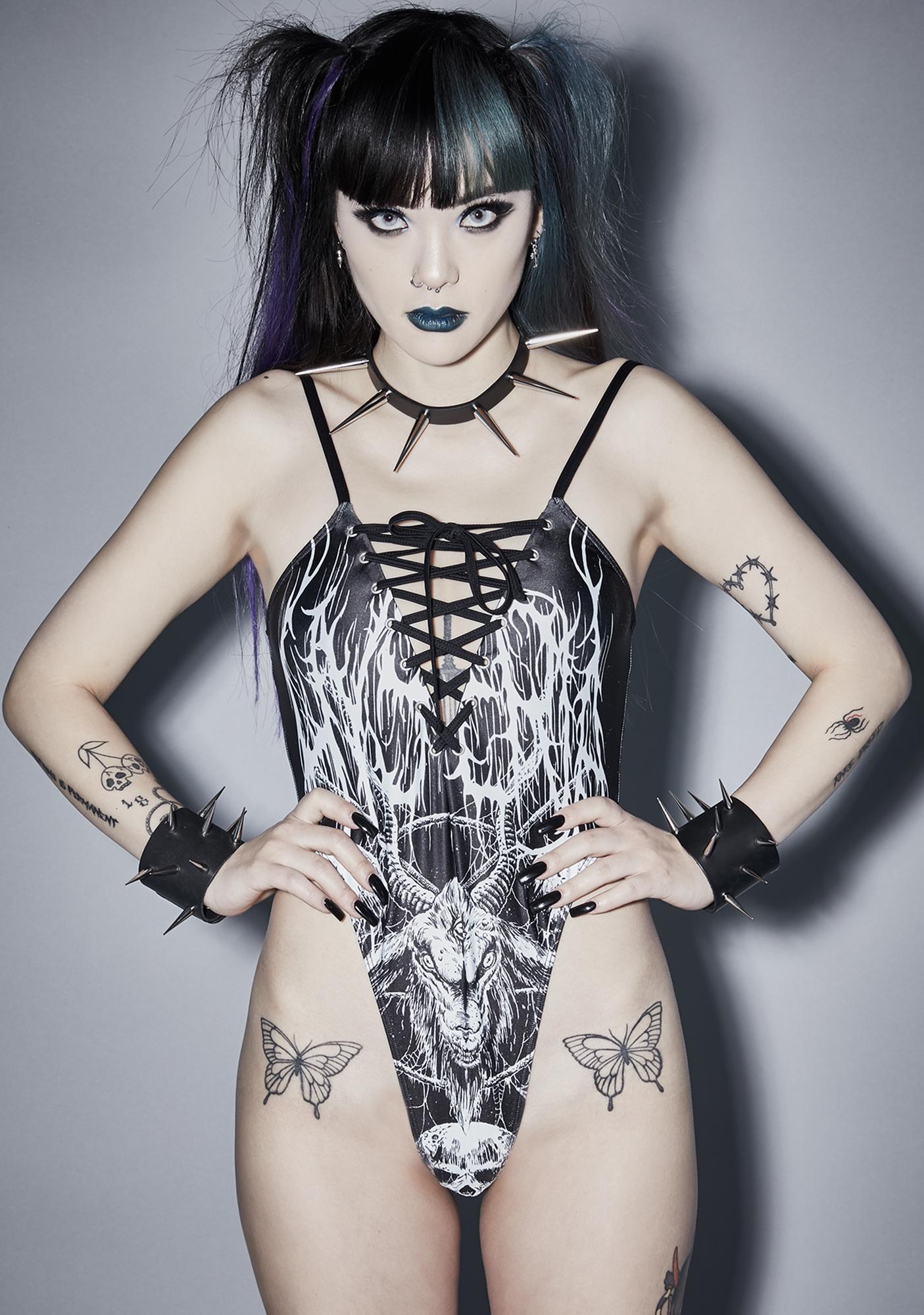 Widow Satan's Sidechick Graphic Swimsuit