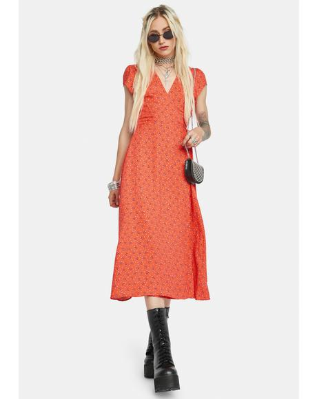 Happiness Blooms Wrap Midi Dress