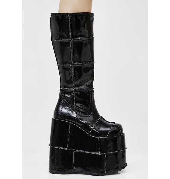 Demonia Patent Stack Platform Boots