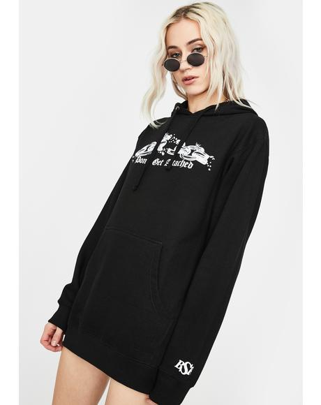 Black Attachments Graphic Hoodie