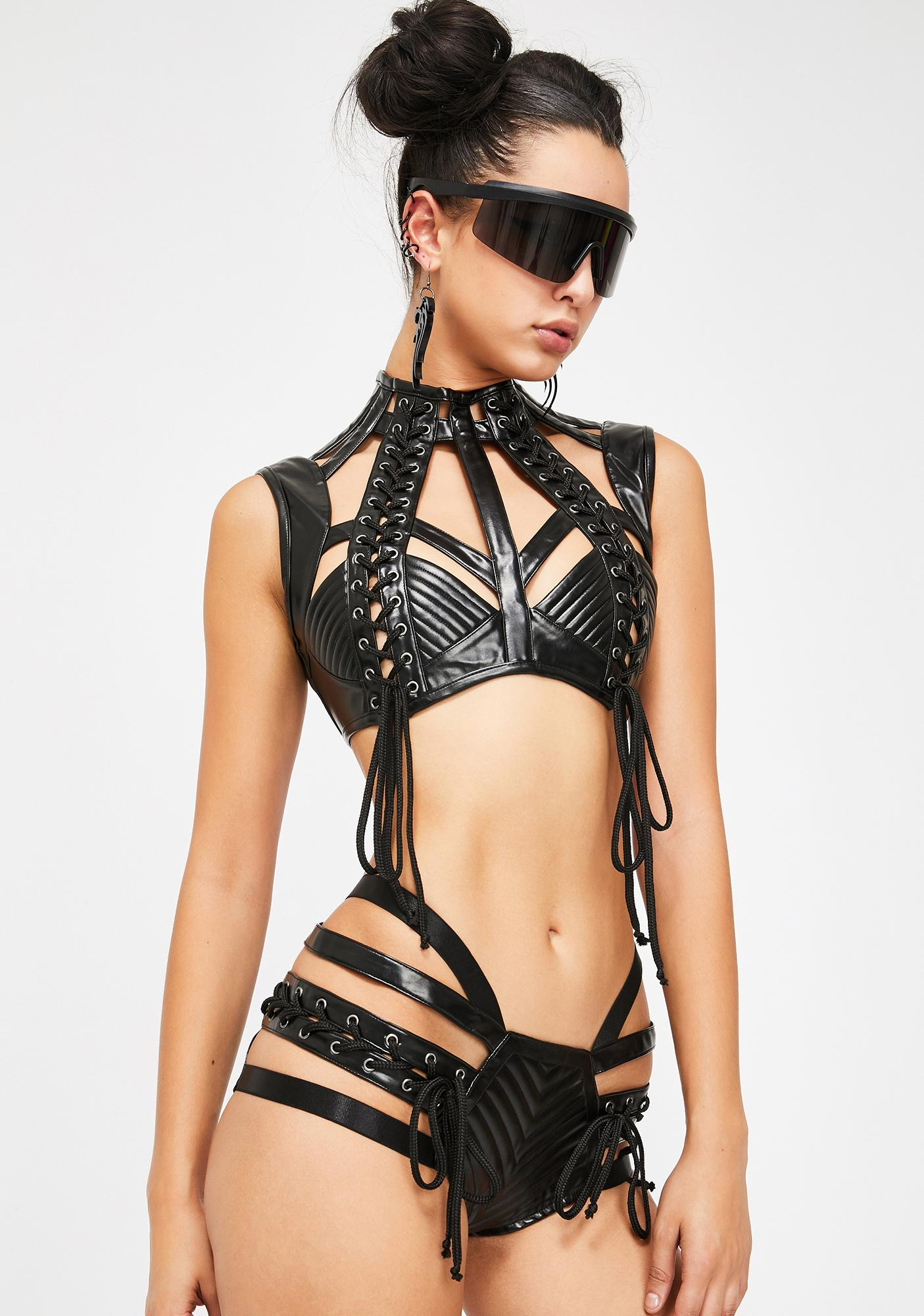 Club Exx Lunar Rude Awakening Harness Bra Top