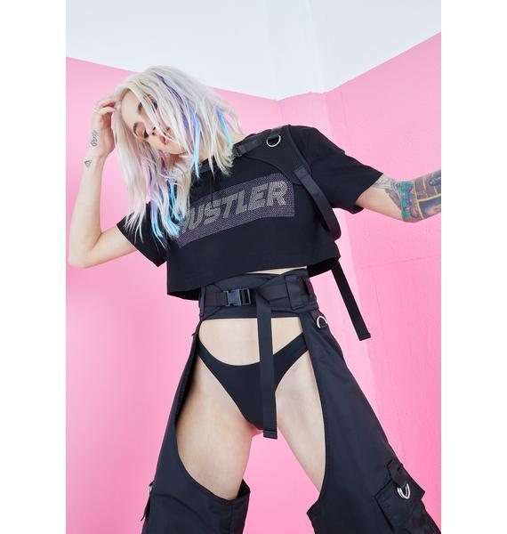 Namilia Crystal Hustler Harness Crop Tee