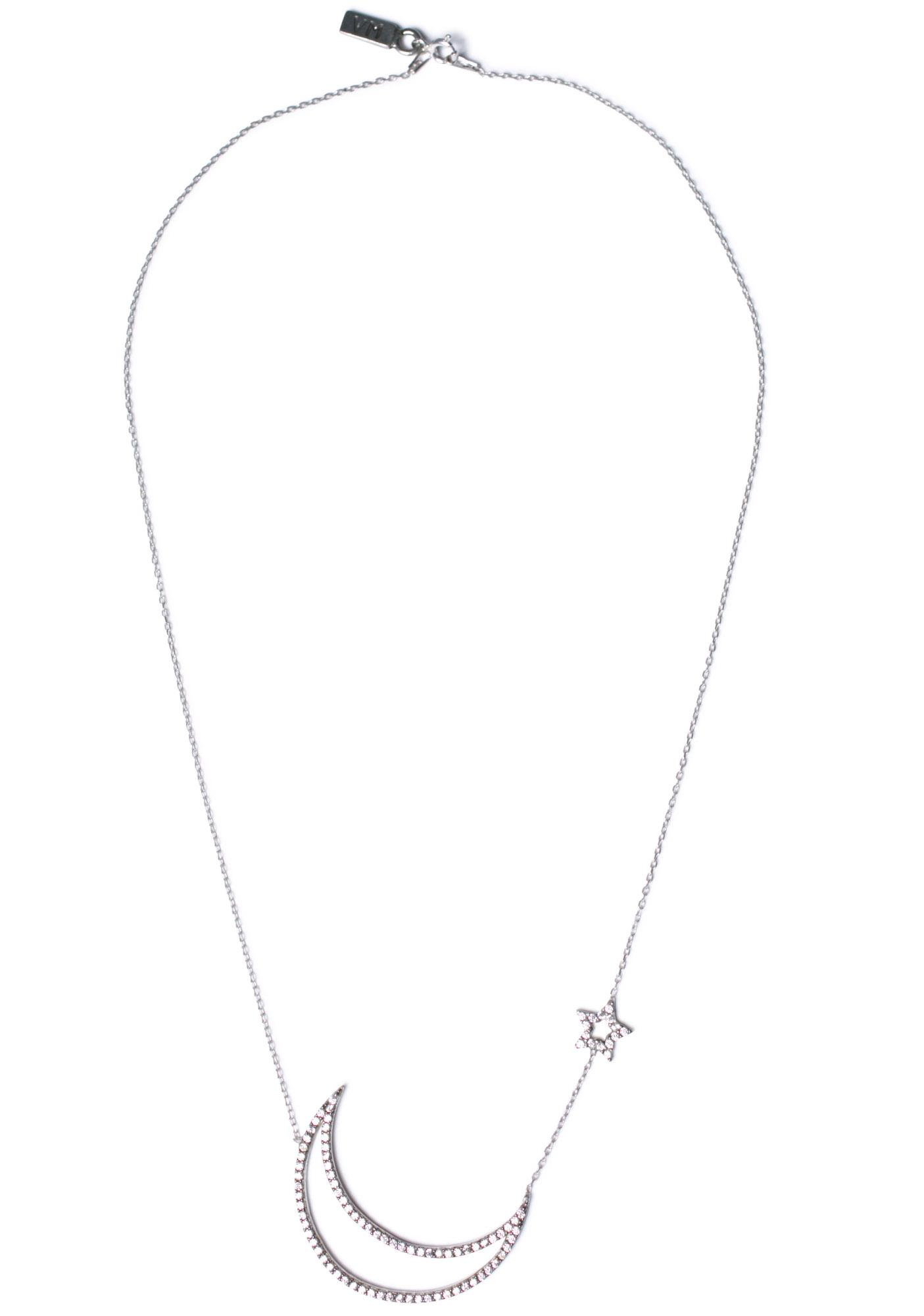 Vanessa Mooney Only In Your Dreams Cut Out Moon & Star Necklace