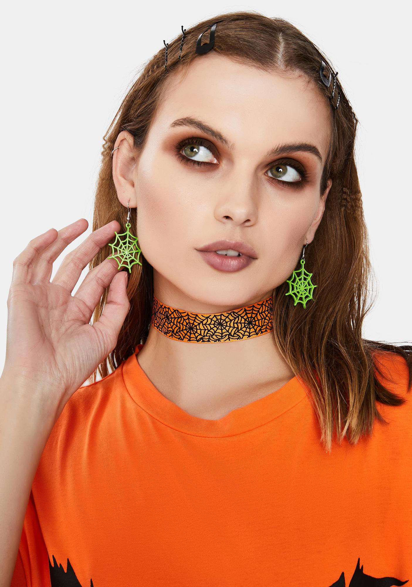 Creep It Up Spider Web Earrings