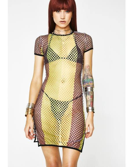 Vibes Speak Louder Fishnet Dress