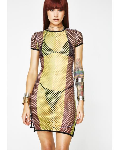 Vibes Speak Louder Fishnet Dress