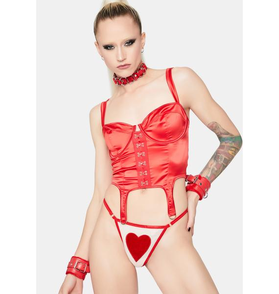 Devil Do It Right Satin Bustier Top