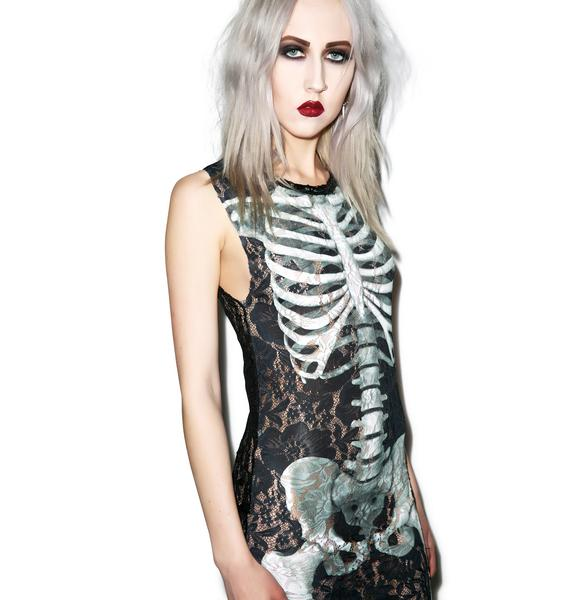 Killstar Skeletor Lace Maxi Dress
