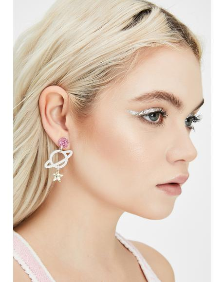 Holographic Glitter Planet Stud Earrings