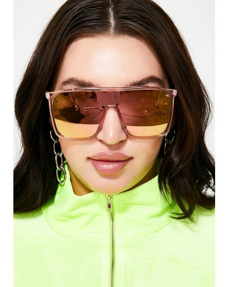 Sweet Futuristic Drip Mirrored Sunglasses