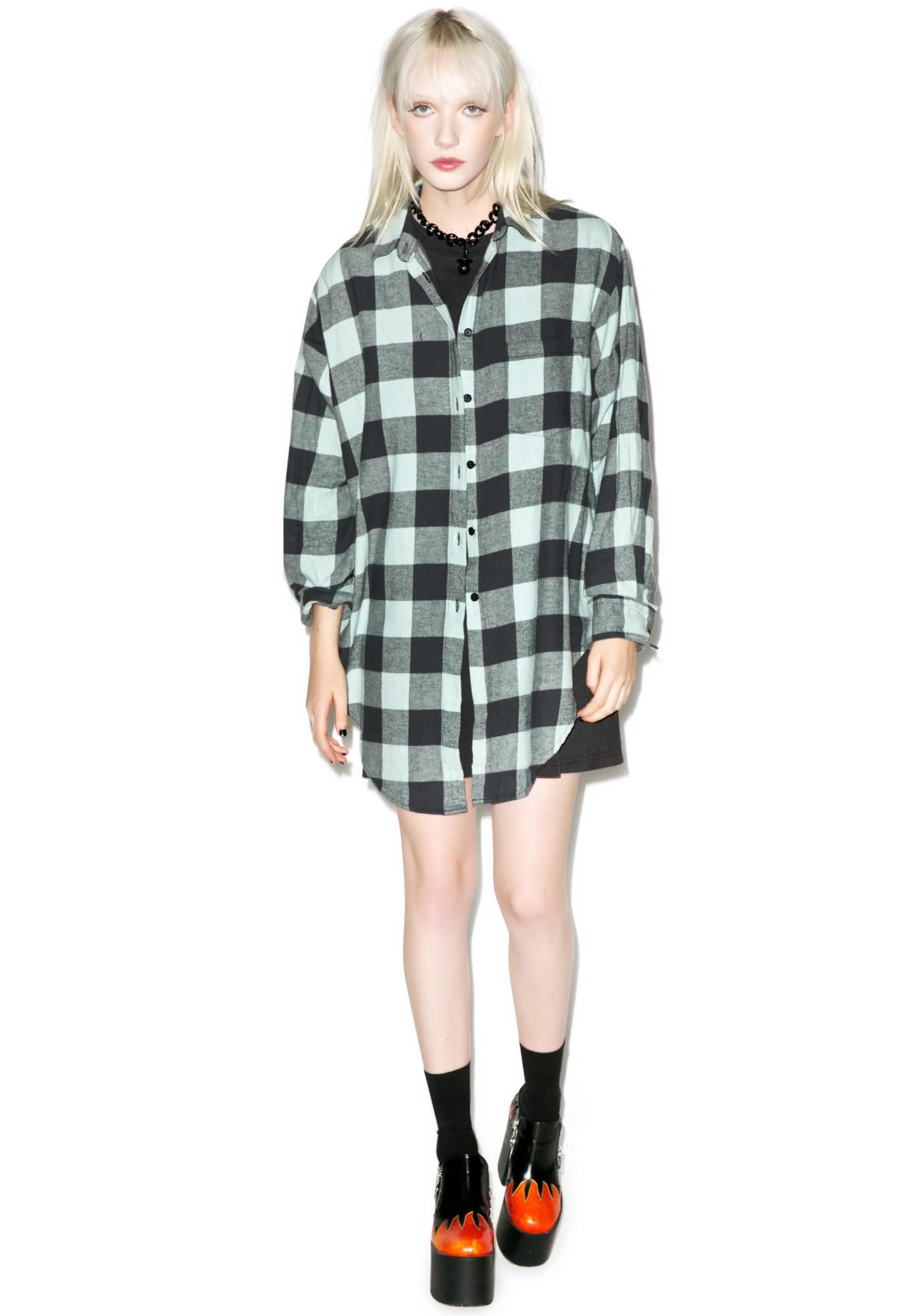 Cheap Monday Green Mist Flannel Top