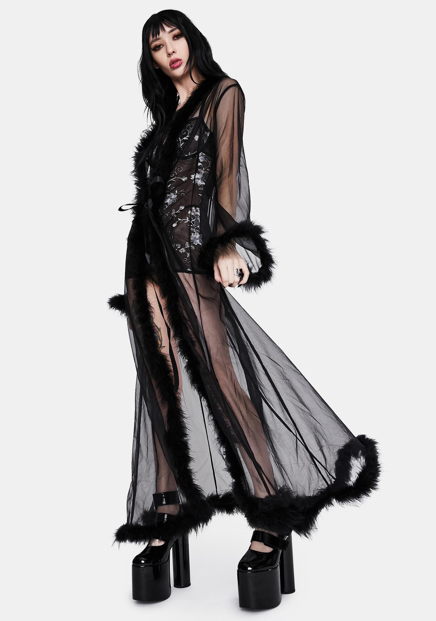 Noir Mistress in Marabou Long Robe