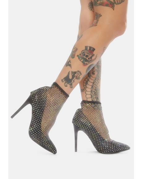 Bling Bling Rhinestone Fishnet Heels