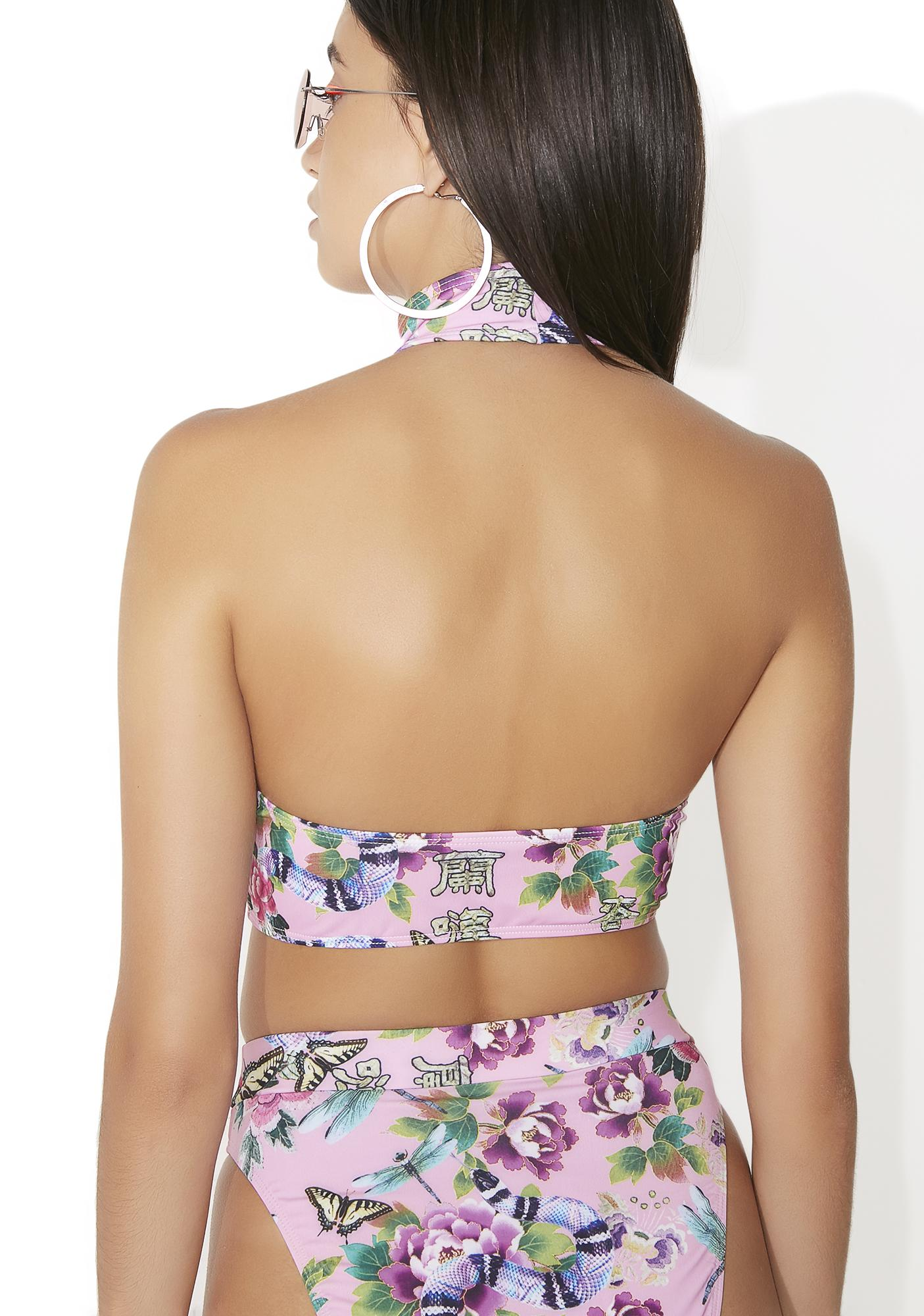 Jaded London Floral Print High Neck Bikini Top