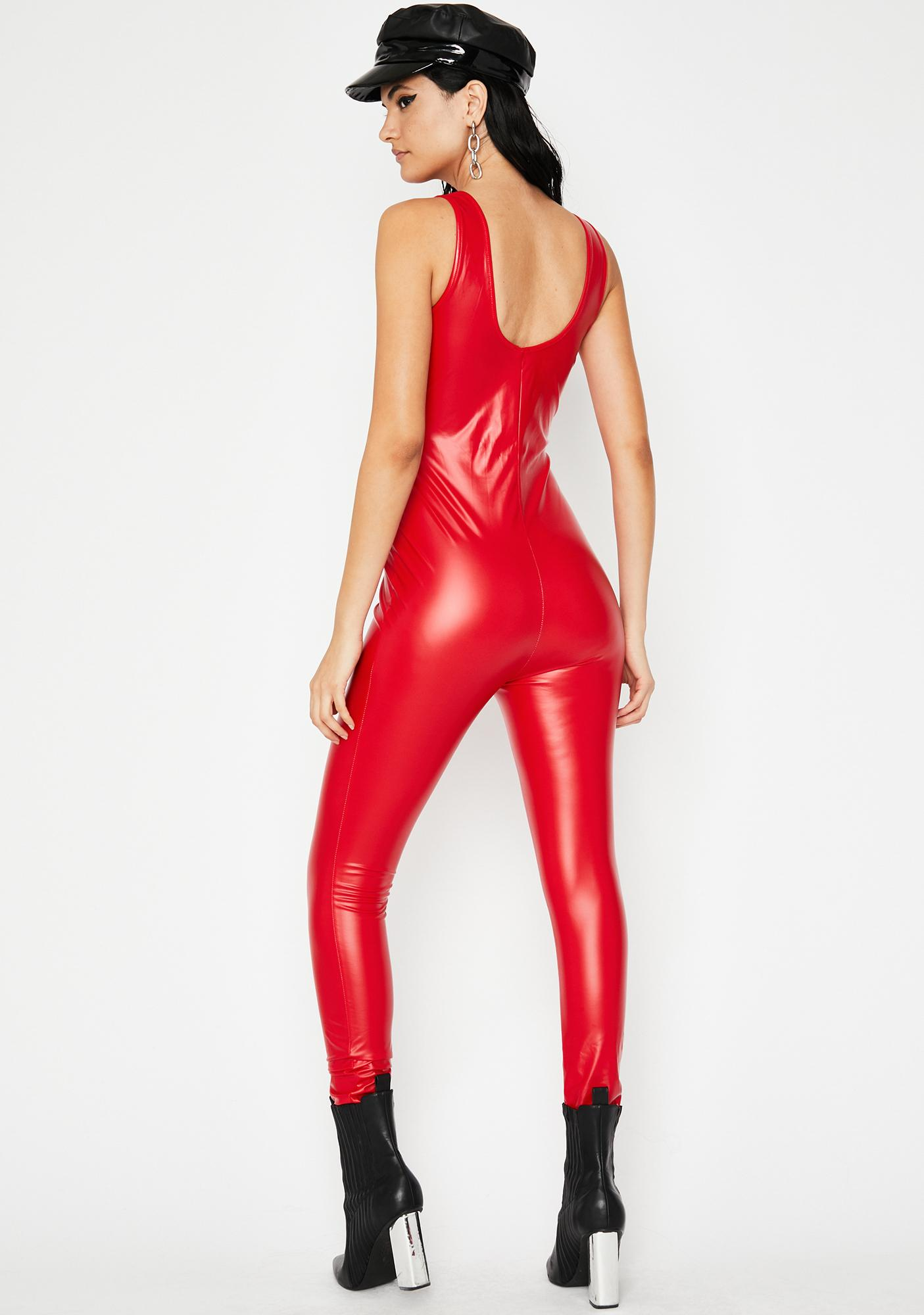 Cherry Hot Mess Coated Catsuit