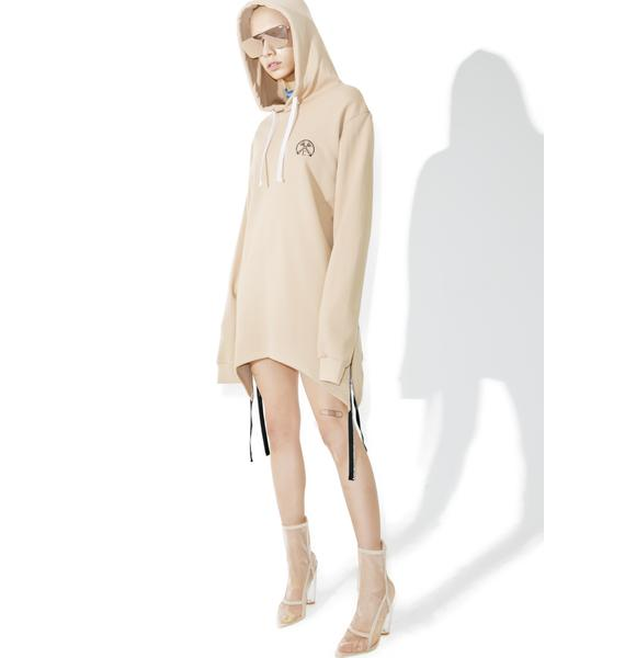 Civil Clothing Sand Extended Zip Reverse Hoodie