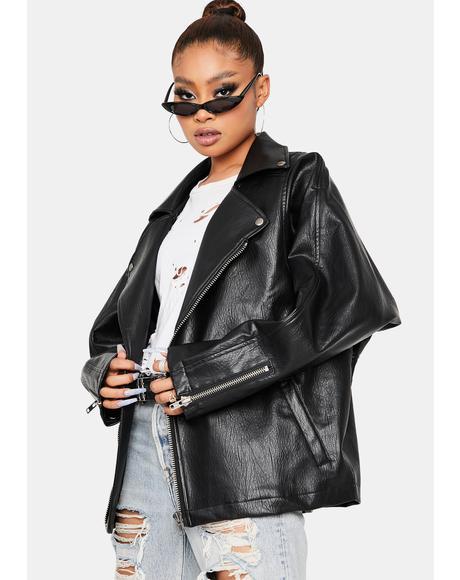 Laid Back Vibe Boxy Moto Jacket