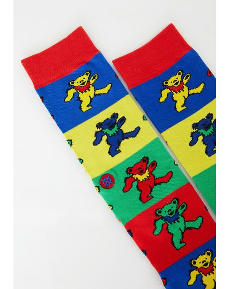 Rainbow Grateful Bears Socks