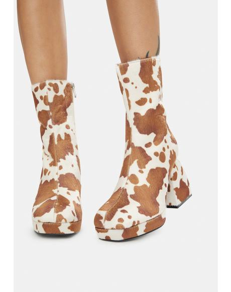 Brown Cow Print Imagine Chunky Heel Ankle Boots
