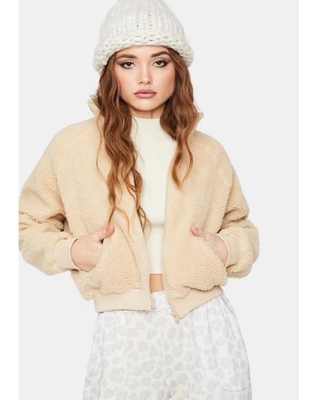 Champagne Take Me Home Sherpa Jacket