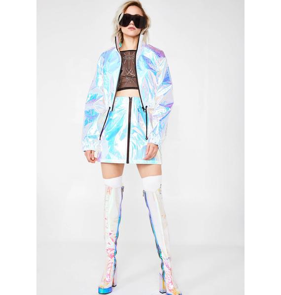 Jaded London Blue Crinkle Foil Shell Suit Jacket