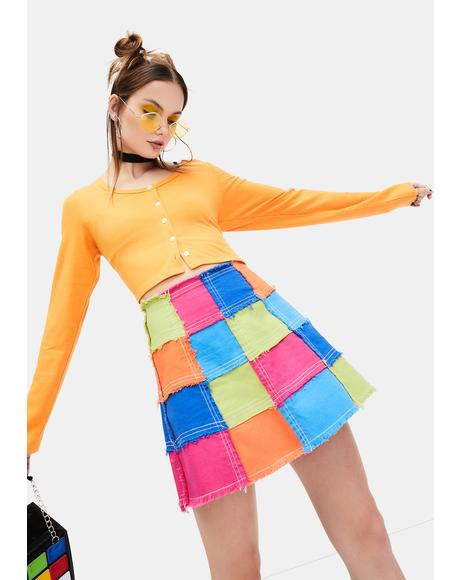 Colorful Life Patchwork Mini Skirt