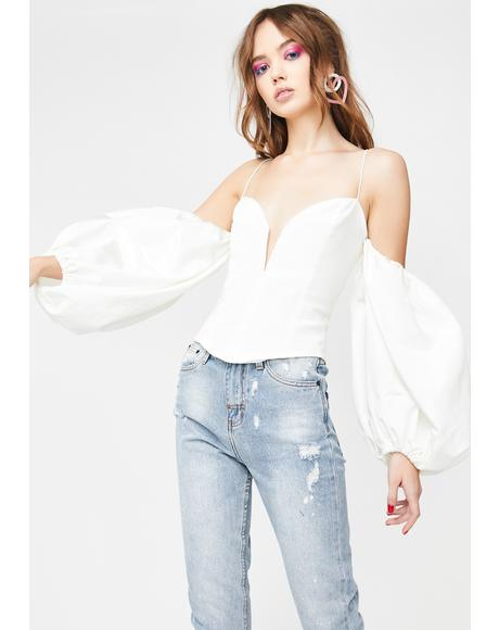 Celeste Moire Cold Shoulder Top