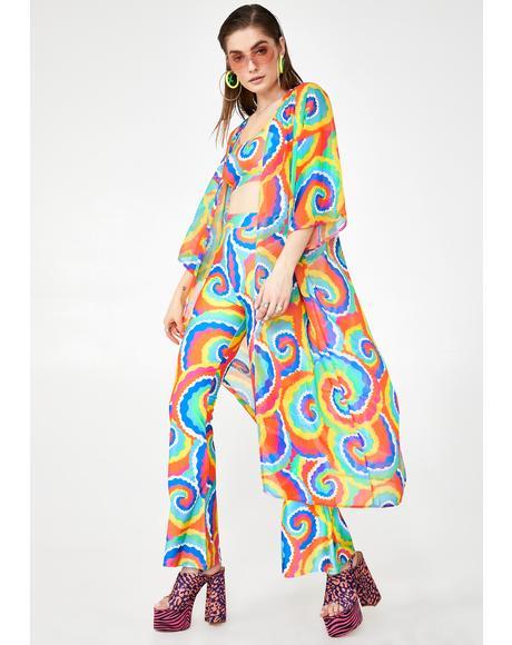 Cartoon Tie Dye Kimono