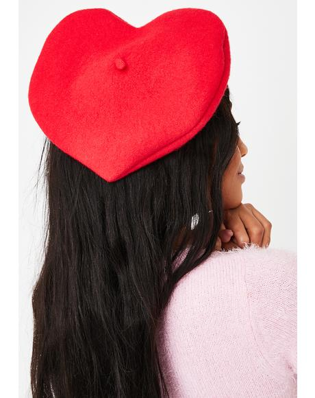 French Lessons Heart Shaped Beret