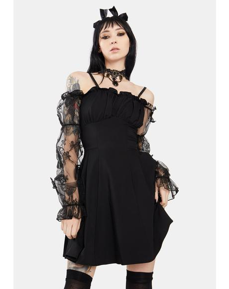 Gothic Off Shoulder Lace Puff Sleeve Mini Dress