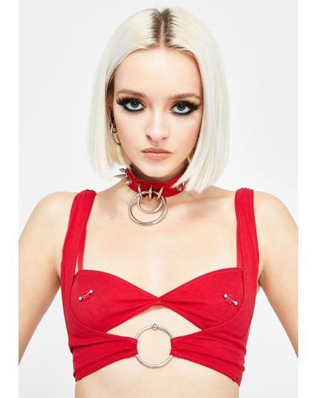 Red Under My Skin O-Ring Bralette