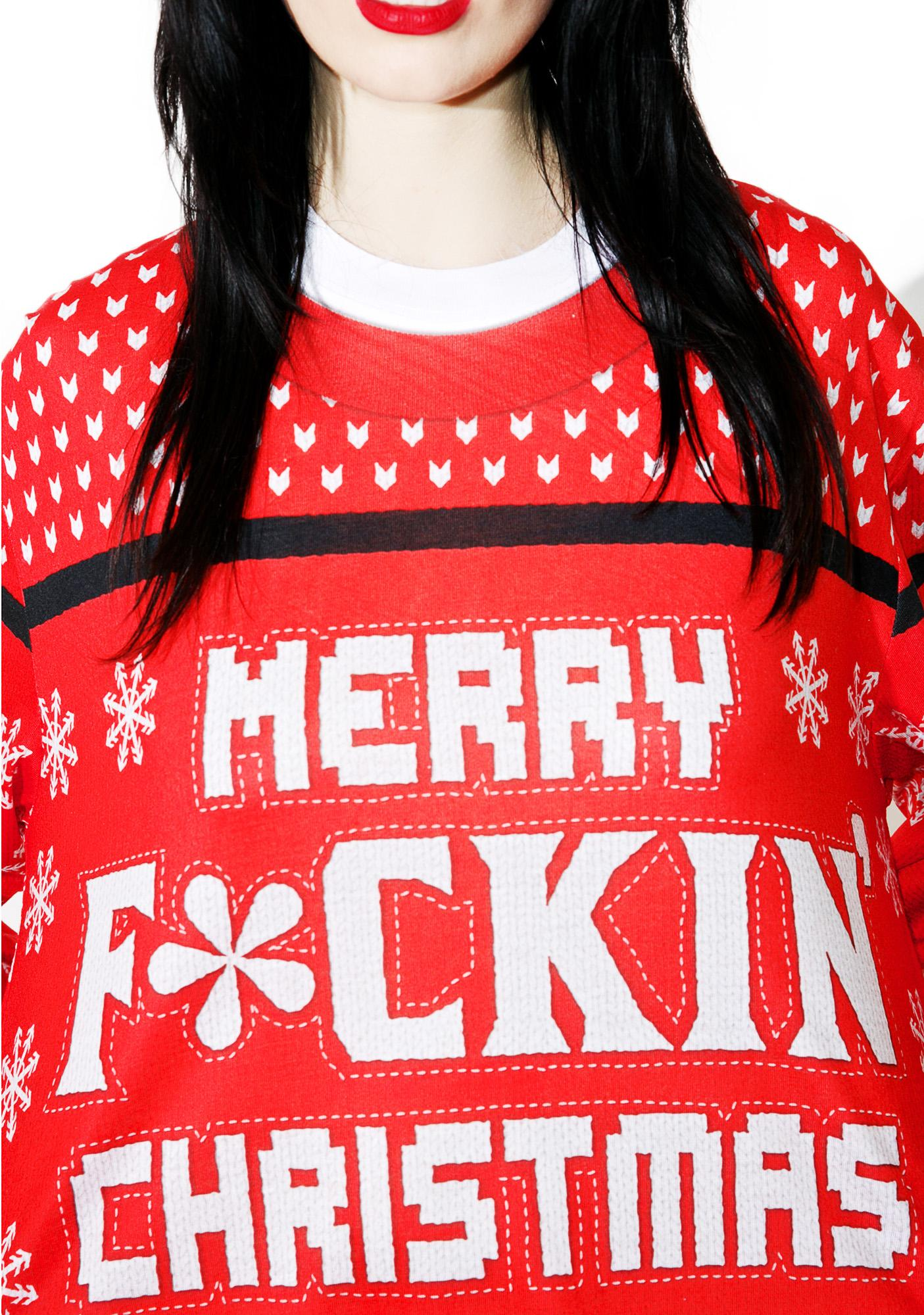 Faux Real Merry F*ckin' Chistmas Sweater