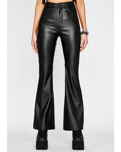 Impure Faux Leather Flare Pants