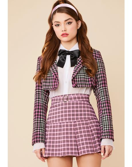Glam Gossip Plaid Pleated Mini Skirt