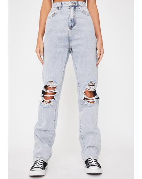 Baggy Distressed Knee Denim Jeans