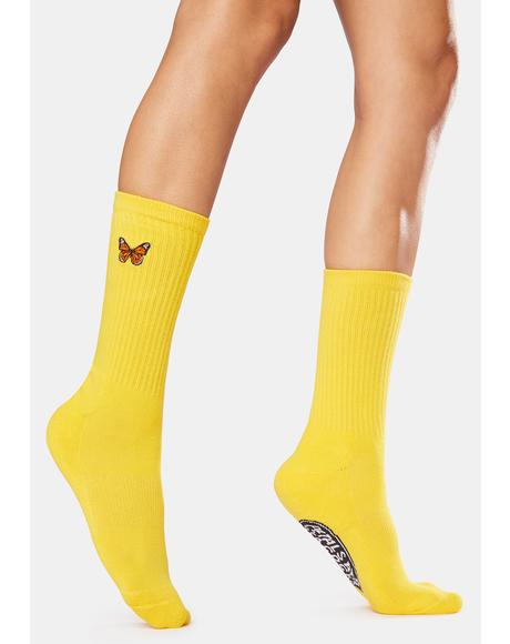 Yellow Butterflying Socks