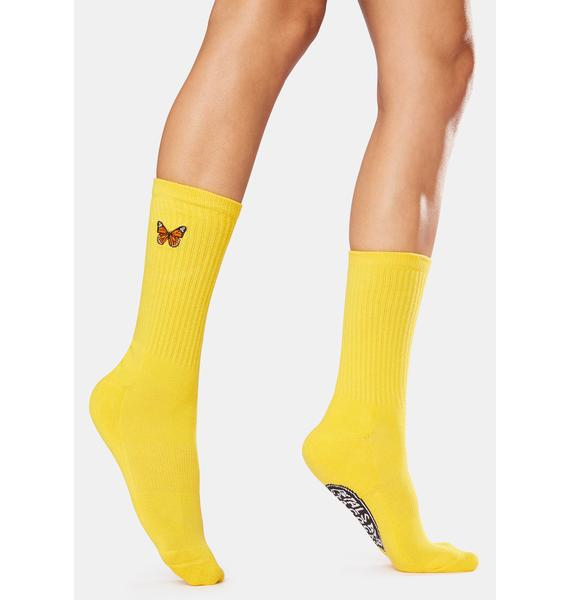 Petals and Peacocks Yellow Butterflying Socks