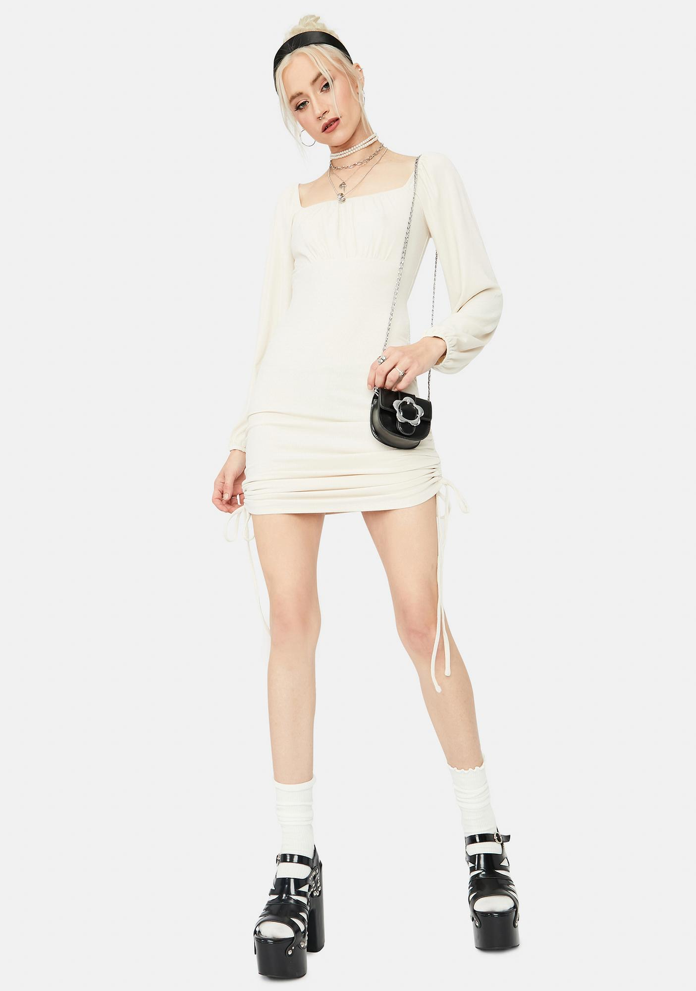 Pearl Bliss Ruched Bodycon Mini Dress