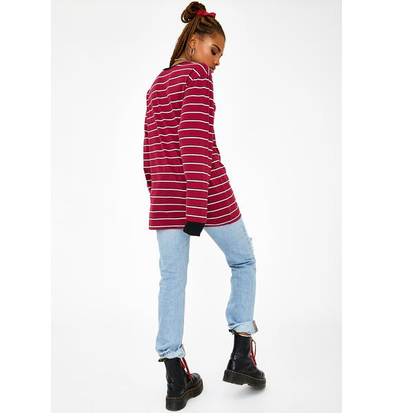Current Mood Wine Playin' Hooky Striped Top