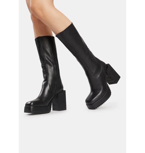 DARKER WAVS Snare Leather Squared Toe Platform Boots