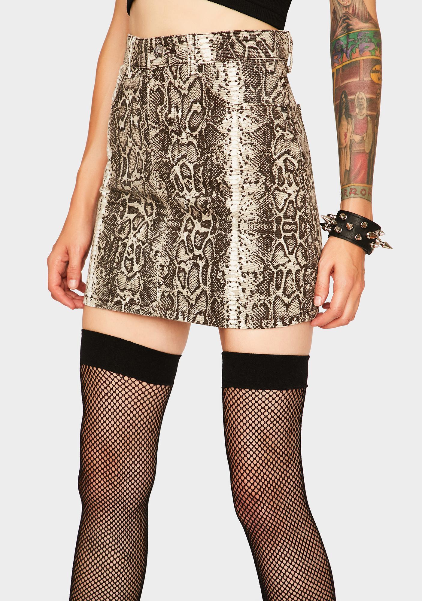 Momokrom Snake Print Denim Skirt